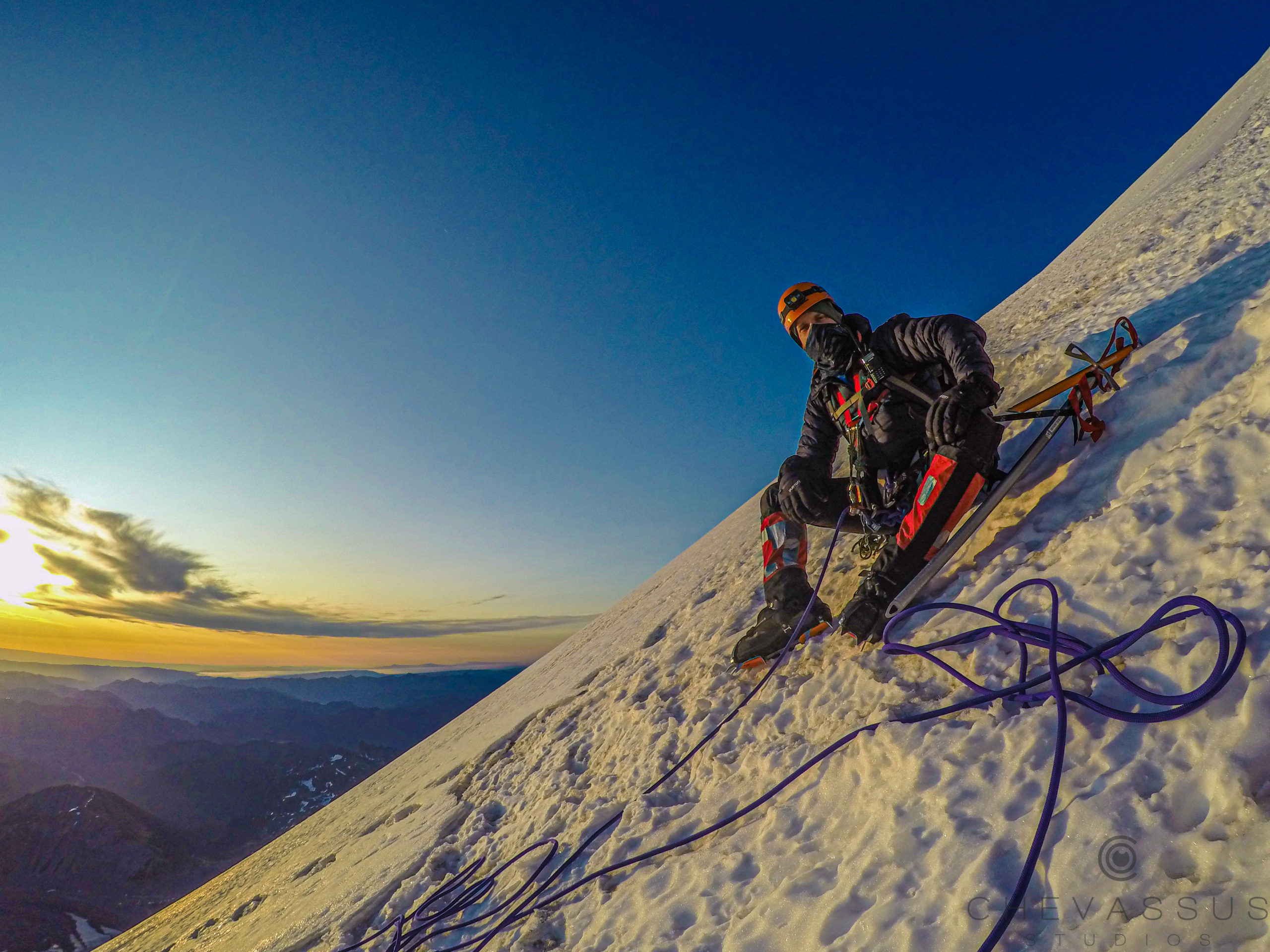 Brian Hiller climbing Mt Rainier